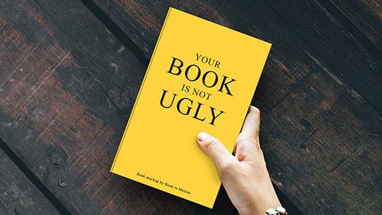 book hand mockup