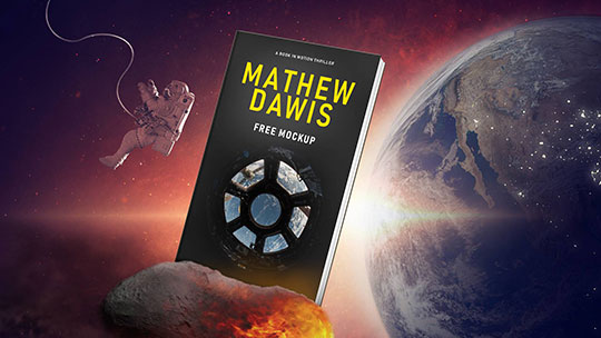 space asteroid book mockup