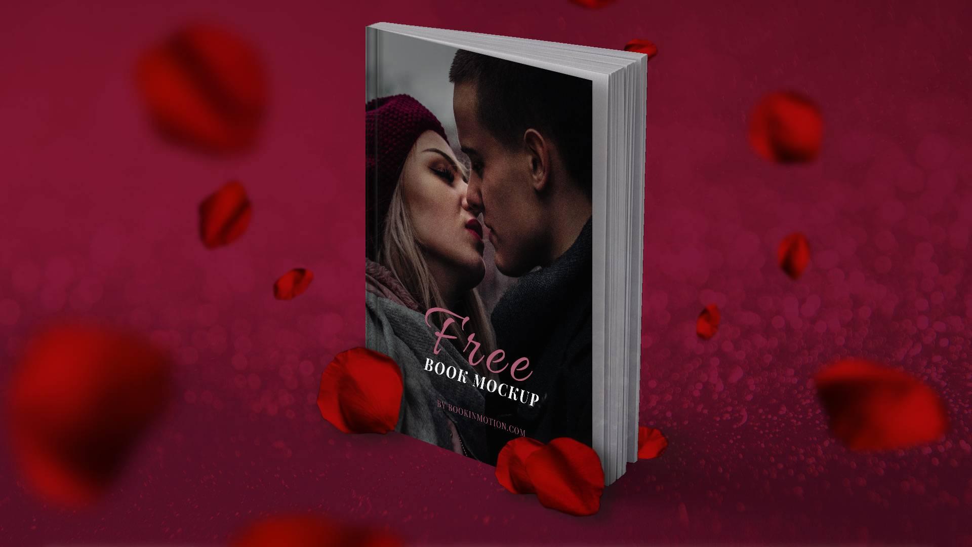 romantic book mockup with rose petals